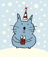 Christmas Snow Cat Fine Art Print