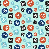 Pirate Badge Pattern Blue Fine Art Print