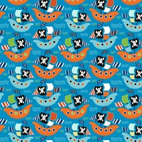 Pirate Ship Pattern Blue Fine Art Print