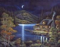 Moonlit Cabin Fine Art Print