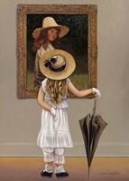 Girl In Museum Fine Art Print