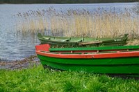 Colorful Canoe by Lake, Trakai, Lithuania I Fine Art Print