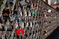 Lithuania, Vilnius, Footbridge, Lovers' Locks Fine Art Print
