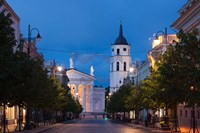Lithuania, Vilnius, Vilnius Cathedral, evening Fine Art Print