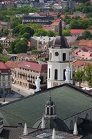Royal Palace and Vilnius Cathedral, Gediminas Hill elevated view of Old Town, Vilnius, Lithuania Fine Art Print