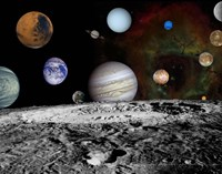 Montage of the planets and Jupiter's Moons Framed Print