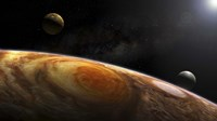 Jupiter's Moons Lo and Europa hover over the Great Red Spot on Jupiter Fine Art Print