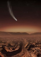Comet lights up the landscape of Candor Chasma over Mars Fine Art Print