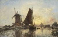 Boats Near The Windmill, Holland, 1868 Fine Art Print