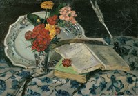 Flowers, Faience and Books Fine Art Print