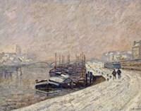 Barges Under Snow Fine Art Print