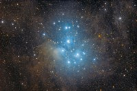 The Pleiades, an open star cluster in the Constellation of Taurus Fine Art Print