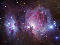M42, the Orion Nebula (top), and NGC 1977, a reflection Nebula (bottom) Fine Art Print