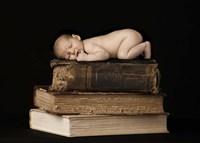 Baby On Books Fine Art Print
