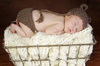 Baby In Brown Knit Framed Print