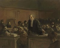 Court Scene - Speech For The Defense, 1907 Fine Art Print