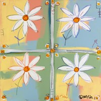 Four Daisies Framed Print