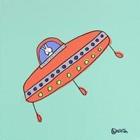 UFO Lala -Teal Fine Art Print