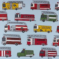 Fire Trucks Blue Framed Print