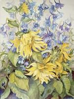 Sunflowers & Blue Delphinium Fine Art Print