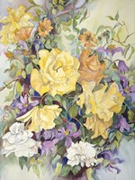 Roses With Purple Clematis Fine Art Print