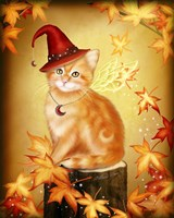 Autumn Cat Magic Framed Print