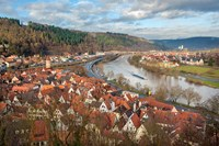 View of Main River and Wertheim, Germany in winter Fine Art Print