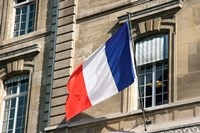 French Flag Facade of Justice Palace Paris, France Fine Art Print