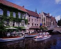 Tourist Boats, Bruges, Belgium Fine Art Print