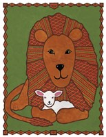 Lamb and Lion Mudcloth Fine Art Print
