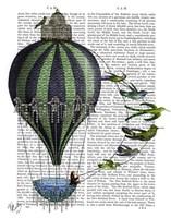 Hot Air Balloon and Birds Framed Print