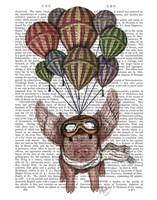 Pig And Balloons Framed Print