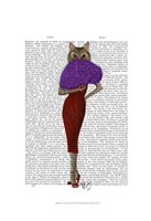 Cat In Red Dress Framed Print
