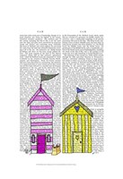 Beach Huts 3 Illustration Framed Print