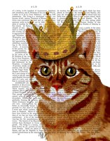 Ginger Cat with Crown Portrai Framed Print