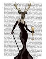 Glamour Deer in Black Framed Print