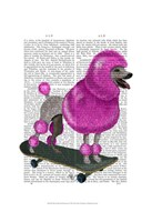 Pink Poodle and Skateboard Framed Print