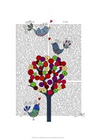 Button Tree and Birds Blue Framed Print