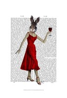 Rabbit in Red Dress Framed Print