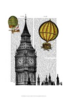 Big Ben and Vintage Hot Air Balloons Framed Print