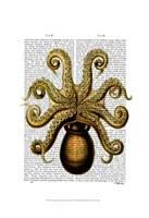 Vintage Yellow Octopus Underside Framed Print