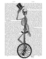Skeleton on Unicycle Framed Print