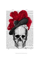 Skull with Red Hat Framed Print