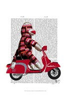 Sock Monkey on Moped Framed Print