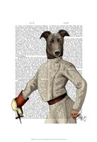 Greyhound Fencer in Cream Portrait Framed Print