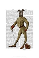 Greyhound Fencer Dark Full Framed Print