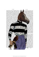 Horse Racing Jockey Portrait Framed Print
