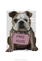 Bulldog Free Hugs Framed Print