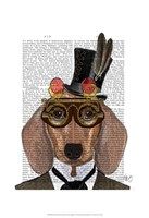 Dachshund with Top Hat and Goggles Framed Print
