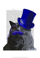 Grey Cat With Blue Top Hat and Blue Moustache Fine Art Print